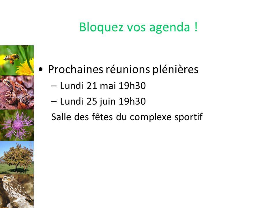 Bloquez vos agenda ! Prochaines réunions plénières –Lundi 21 mai 19h30 –Lundi 25 juin 19h30 Salle des fêtes du complexe sportif