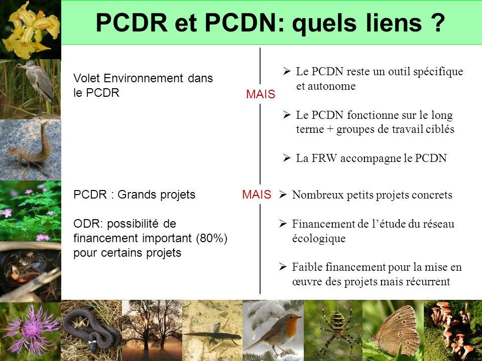 PCDR et PCDN: quels liens ? Volet Environnement dans le PCDR MAIS Le PCDN reste un outil spécifique et autonome Le PCDN fonctionne sur le long terme +
