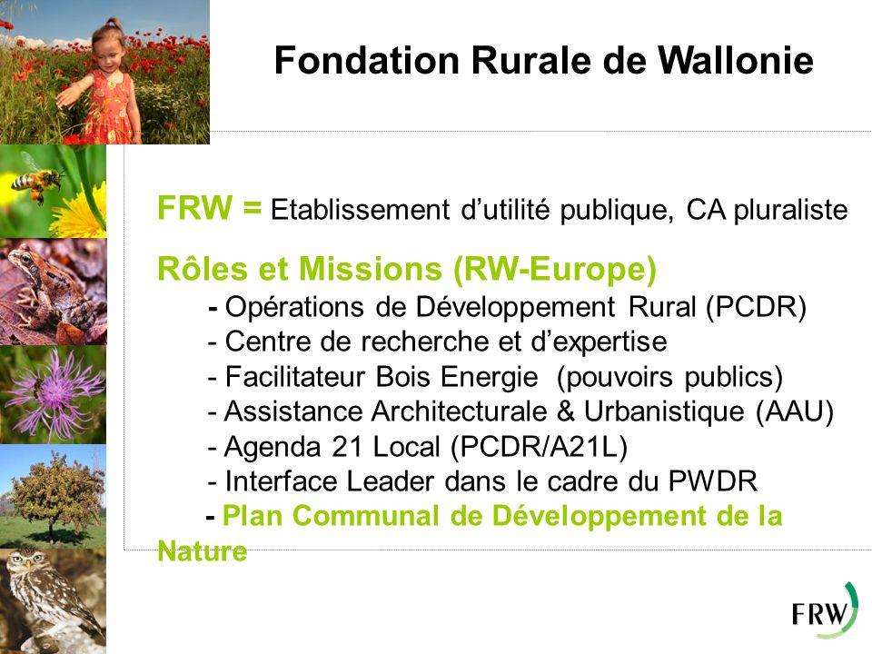 Fondation Rurale de Wallonie FRW = Etablissement dutilité publique, CA pluraliste Rôles et Missions (RW-Europe) - Opérations de Développement Rural (P