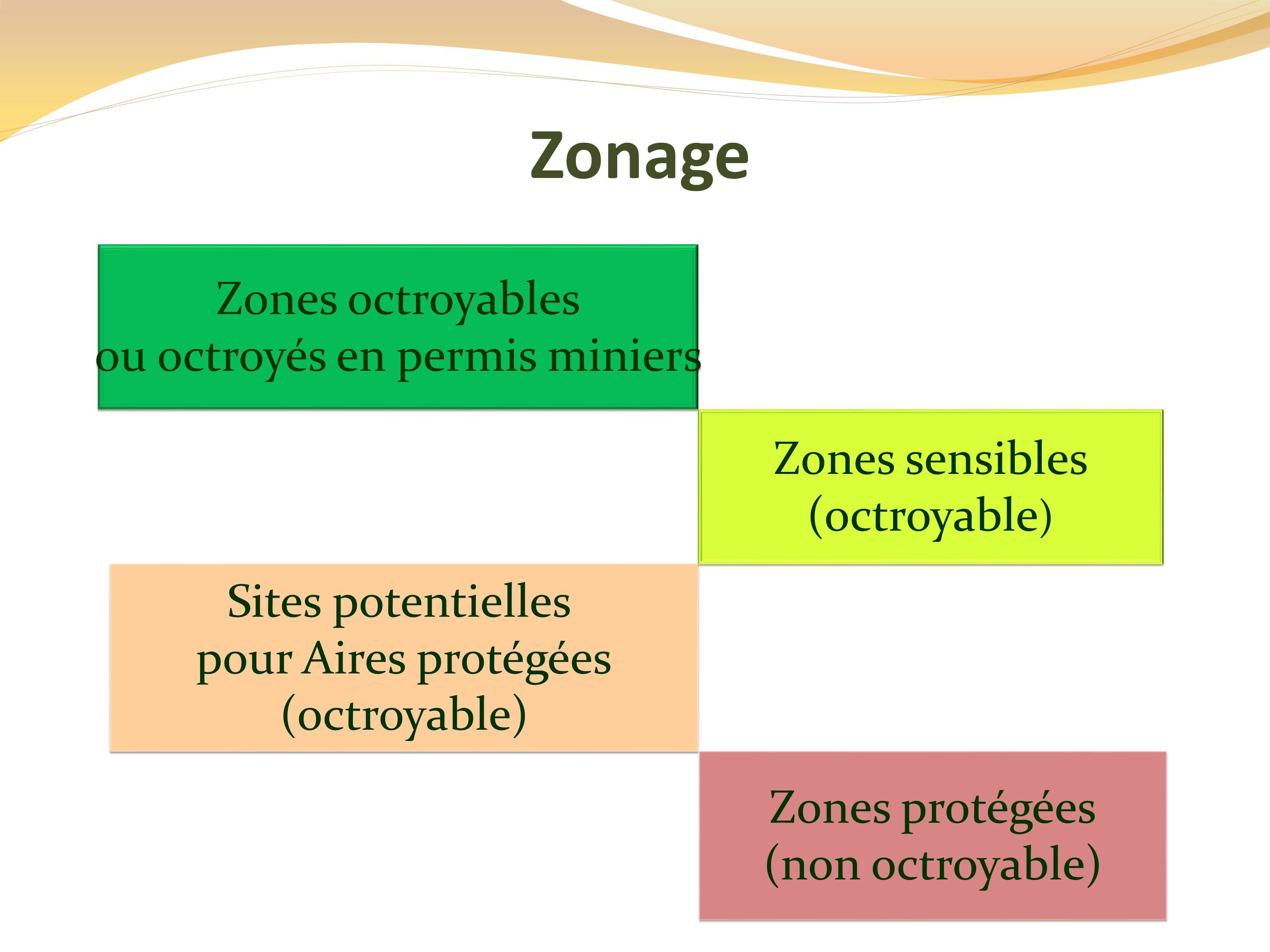 Zonage Sites potentielles pour Aires protégées (octroyable) Sites potentielles pour Aires protégées (octroyable) Zones octroyables ou octroyés en permis miniers Zones octroyables ou octroyés en permis miniers Zones sensibles (octroyable ) Zones sensibles (octroyable ) Zones protégées (non octroyable) Zones protégées (non octroyable)