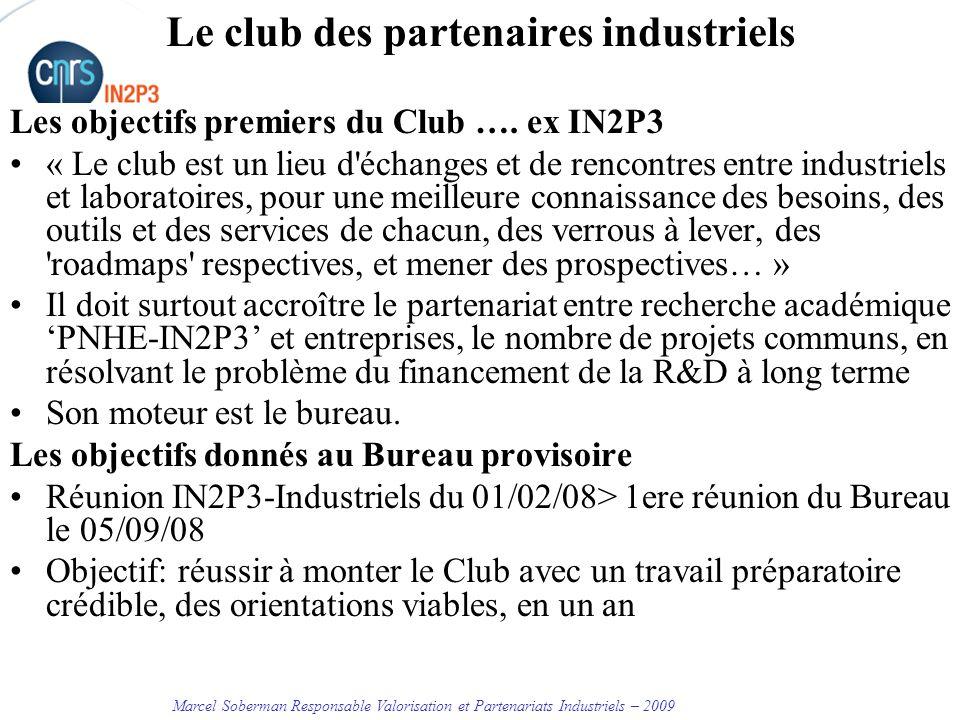 Marcel Soberman Responsable Valorisation et Partenariats Industriels – 2009 Le club des partenaires industriels Les objectifs premiers du Club ….