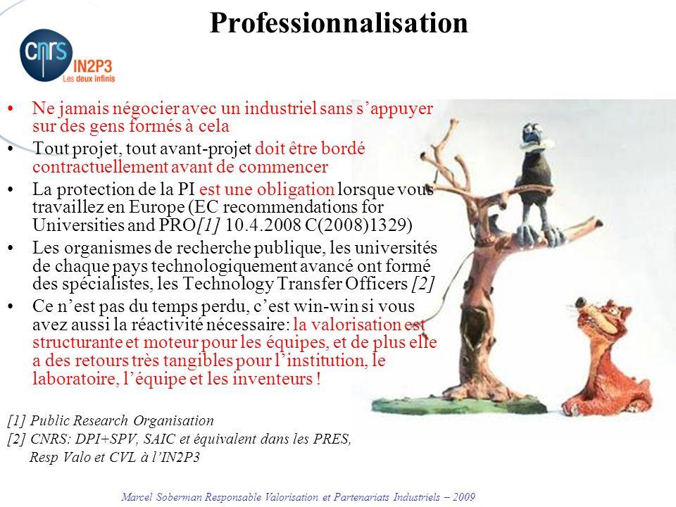 Marcel Soberman Responsable Valorisation et Partenariats Industriels – 2009 Organisation de la valorisation à lIN2P3 CNRS - DPI SPV DR CNRS Laboratoire TTO duniversités ou autres entités régionales Resp.