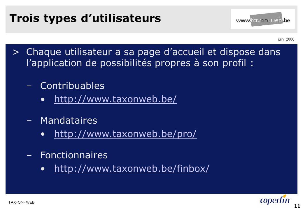 TAX-ON-WEB juin 2006 11 Trois types dutilisateurs >Chaque utilisateur a sa page daccueil et dispose dans lapplication de possibilités propres à son profil : –Contribuables http://www.taxonweb.be/ –Mandataires http://www.taxonweb.be/pro/ –Fonctionnaires http://www.taxonweb.be/finbox/