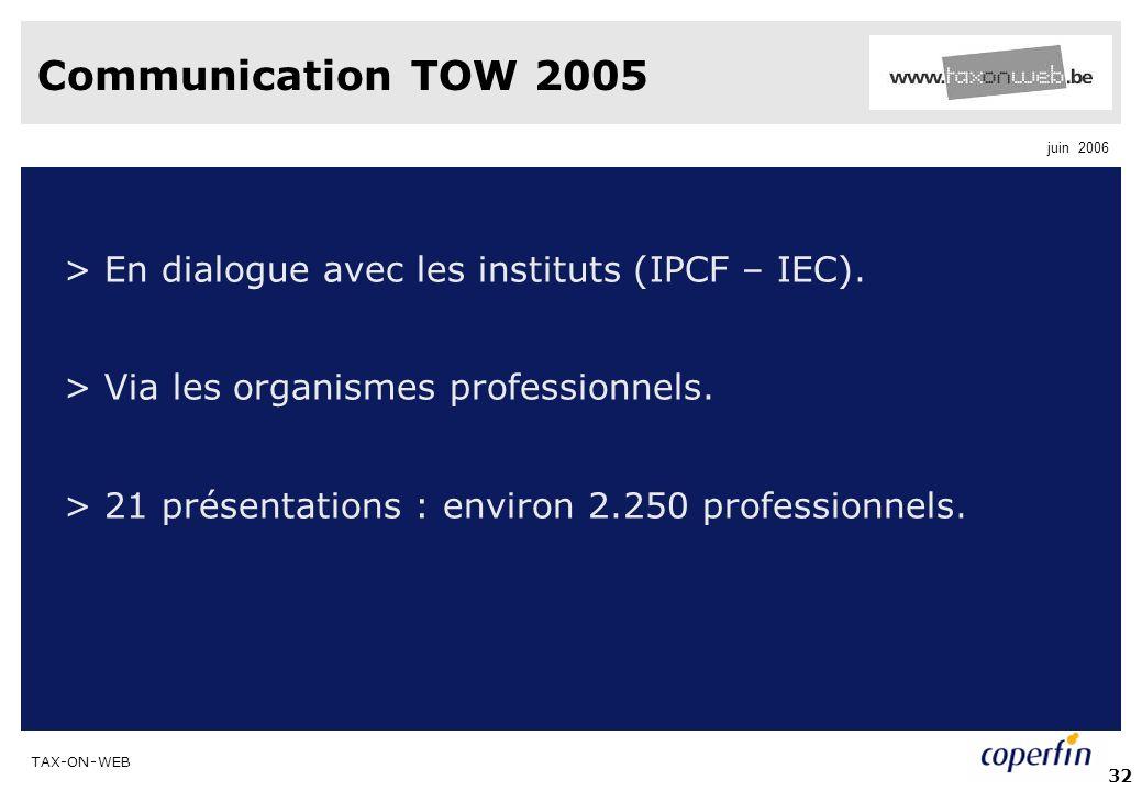 TAX-ON-WEB juin 2006 32 Communication TOW 2005 > En dialogue avec les instituts (IPCF – IEC). > Via les organismes professionnels. > 21 présentations