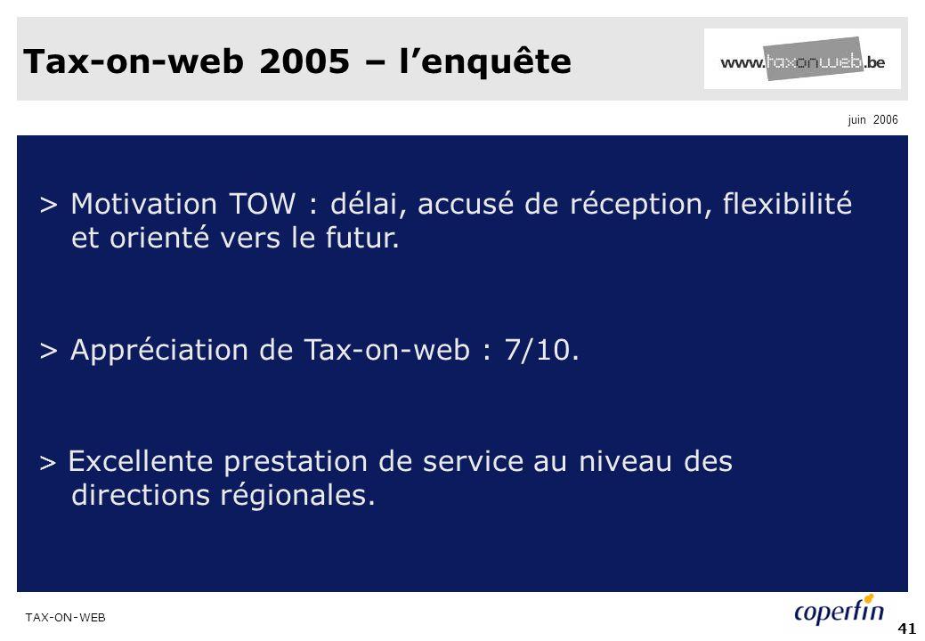 TAX-ON-WEB juin 2006 41 Tax-on-web 2005 – lenquête > Motivation TOW : délai, accusé de réception, flexibilité et orienté vers le futur. > Appréciation
