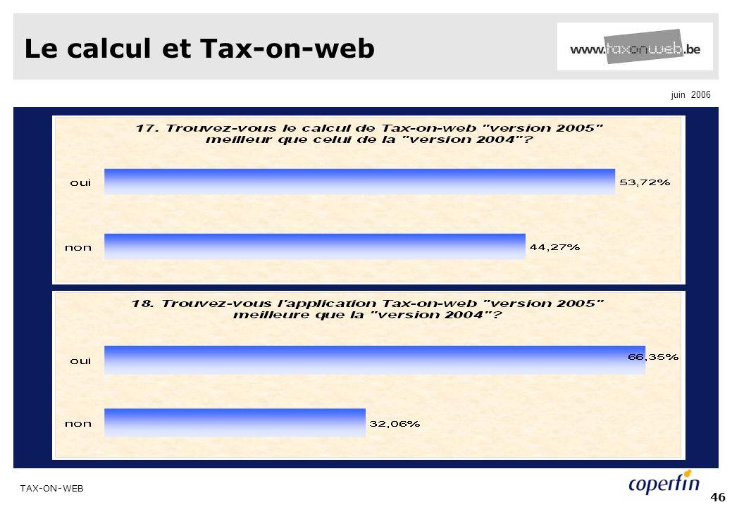 TAX-ON-WEB juin 2006 46 Le calcul et Tax-on-web