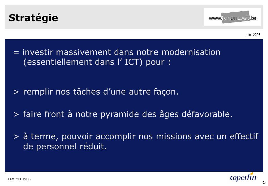 TAX-ON-WEB juin 2006 5 Stratégie = investir massivement dans notre modernisation (essentiellement dans l ICT) pour : >remplir nos tâches dune autre façon.