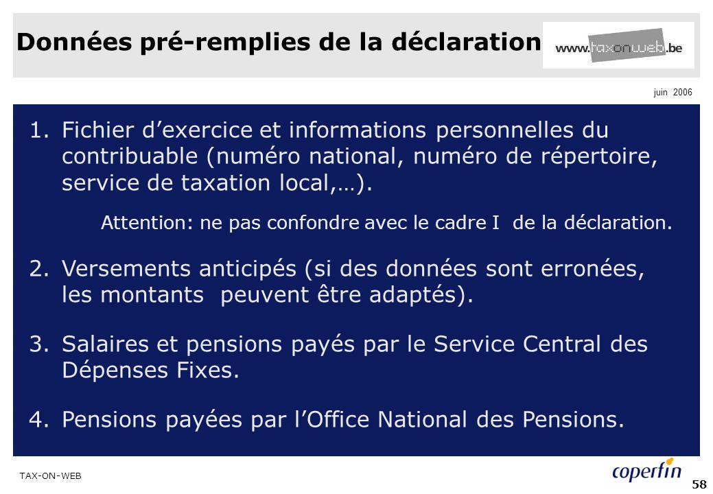TAX-ON-WEB juin 2006 58 Données pré-remplies de la déclaration 1.Fichier dexercice et informations personnelles du contribuable (numéro national, numéro de répertoire, service de taxation local,…).