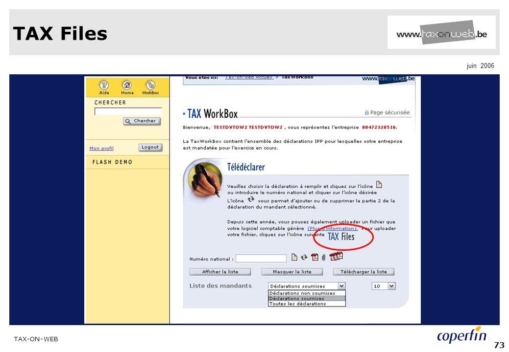 TAX-ON-WEB juin 2006 73 TAX Files