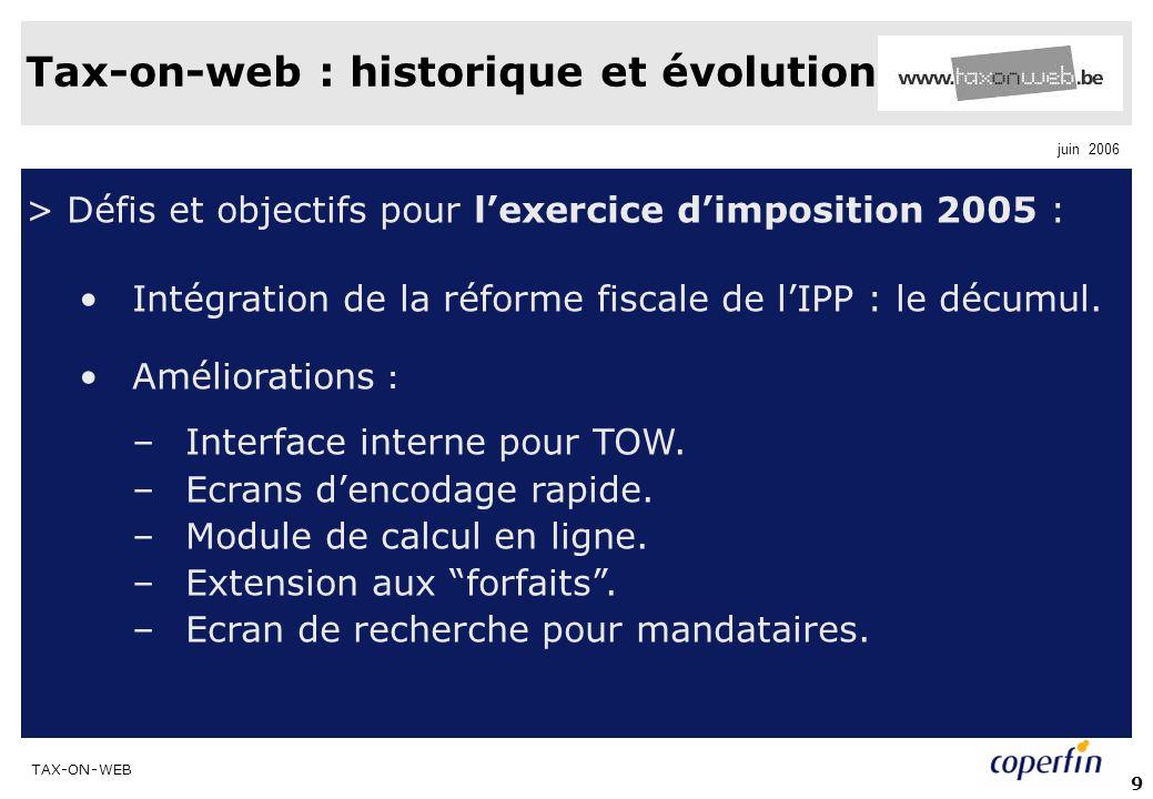 TAX-ON-WEB juin 2006 9 > Défis et objectifs pour lexercice dimposition 2005 : Intégration de la réforme fiscale de lIPP : le décumul. Améliorations :