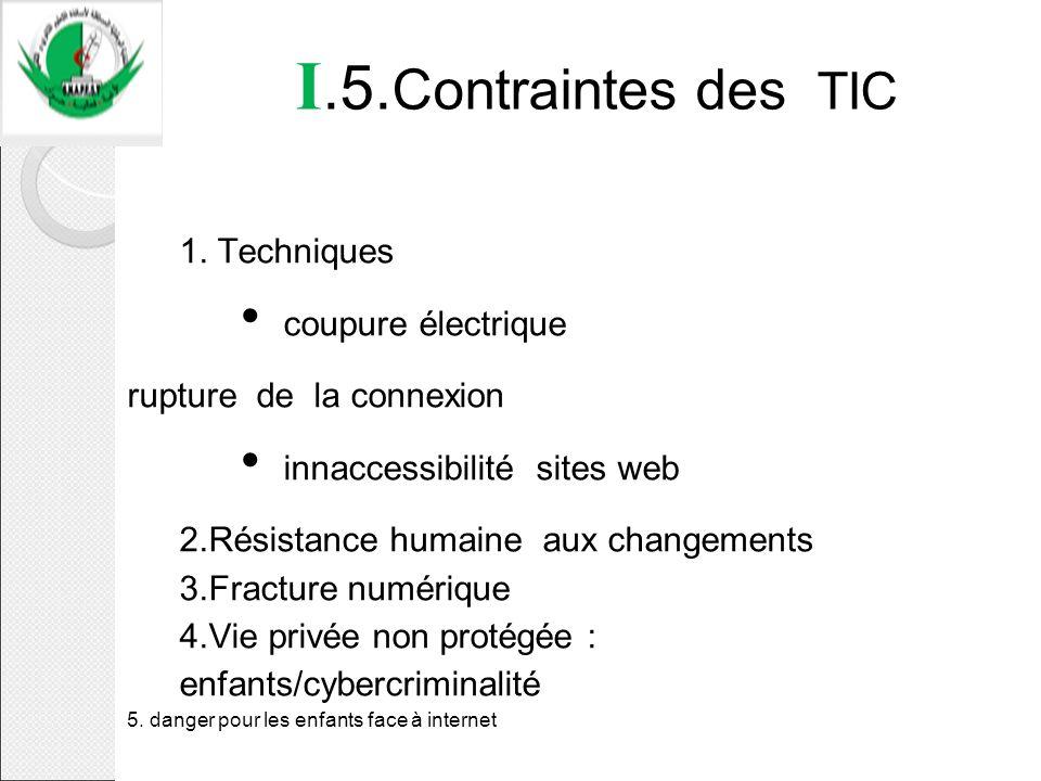 I.5. Contraintes des TIC 1. Techniques coupure électrique rupture de la connexion innaccessibilité sites web 2.Résistance humaine aux changements 3.Fr