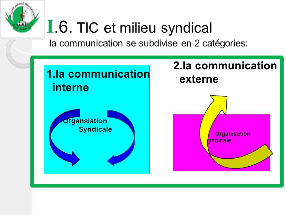 I.6. TIC et milieu syndical la communication se subdivise en 2 catégories: Organsiation Syndicale Organisation Syndicale 1.la communication interne 2.