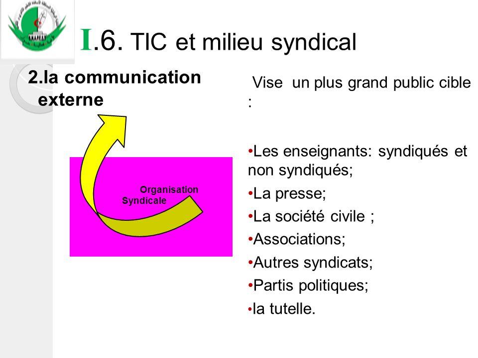 I.6. TIC et milieu syndical Organisation Syndicale 2.la communication externe Vise un plus grand public cible : Les enseignants: syndiqués et non synd