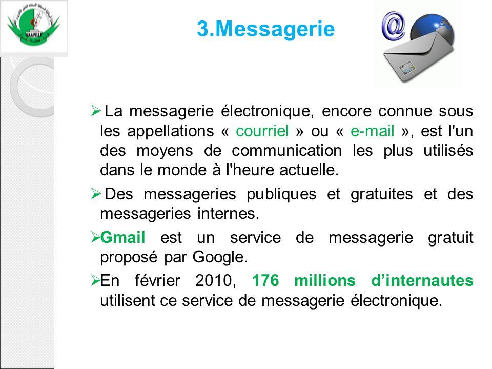 3.Messagerie La messagerie électronique, encore connue sous les appellations « courriel » ou « e-mail », est l'un des moyens de communication les plus