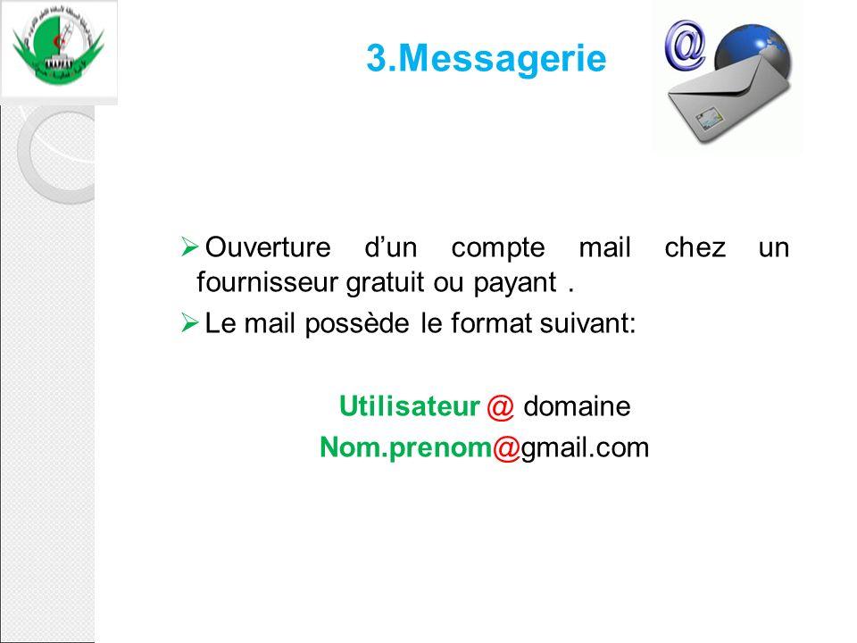 3.Messagerie Ouverture dun compte mail chez un fournisseur gratuit ou payant. Le mail possède le format suivant: Utilisateur @ domaine Nom.prenom@gmai