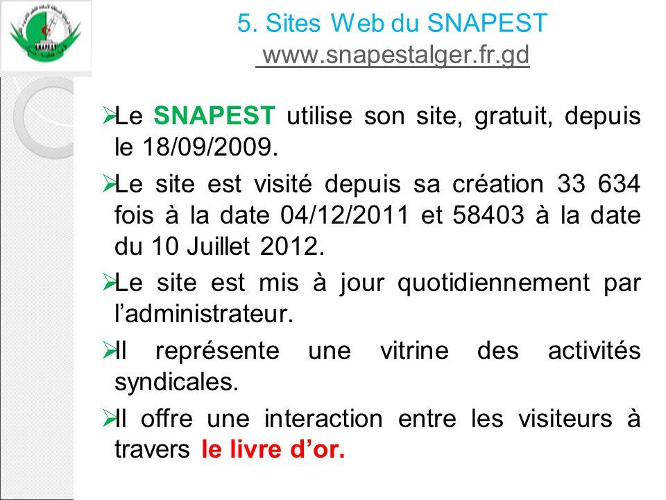 5. Sites Web du SNAPEST www.snapestalger.fr.gd www.snapestalger.fr.gd Le SNAPEST utilise son site, gratuit, depuis le 18/09/2009. Le site est visité d