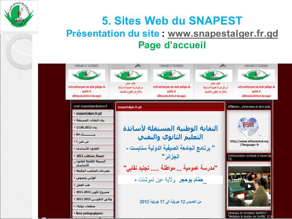 5. Sites Web du SNAPEST Présentation du site : www.snapestalger.fr.gd Page daccueilwww.snapestalger.fr.gd