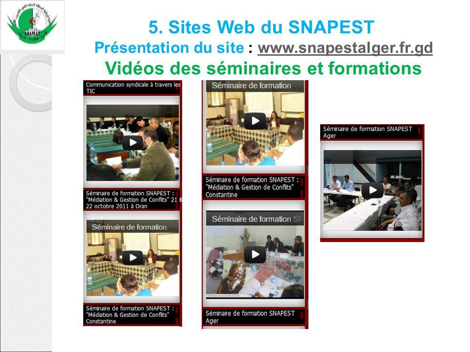 5. Sites Web du SNAPEST Présentation du site : www.snapestalger.fr.gd Vidéos des séminaires et formationswww.snapestalger.fr.gd