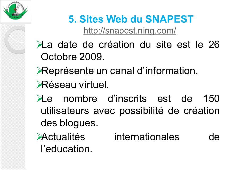 5. Sites Web du SNAPEST http://snapest.ning.com/ http://snapest.ning.com/ La date de création du site est le 26 Octobre 2009. Représente un canal dinf