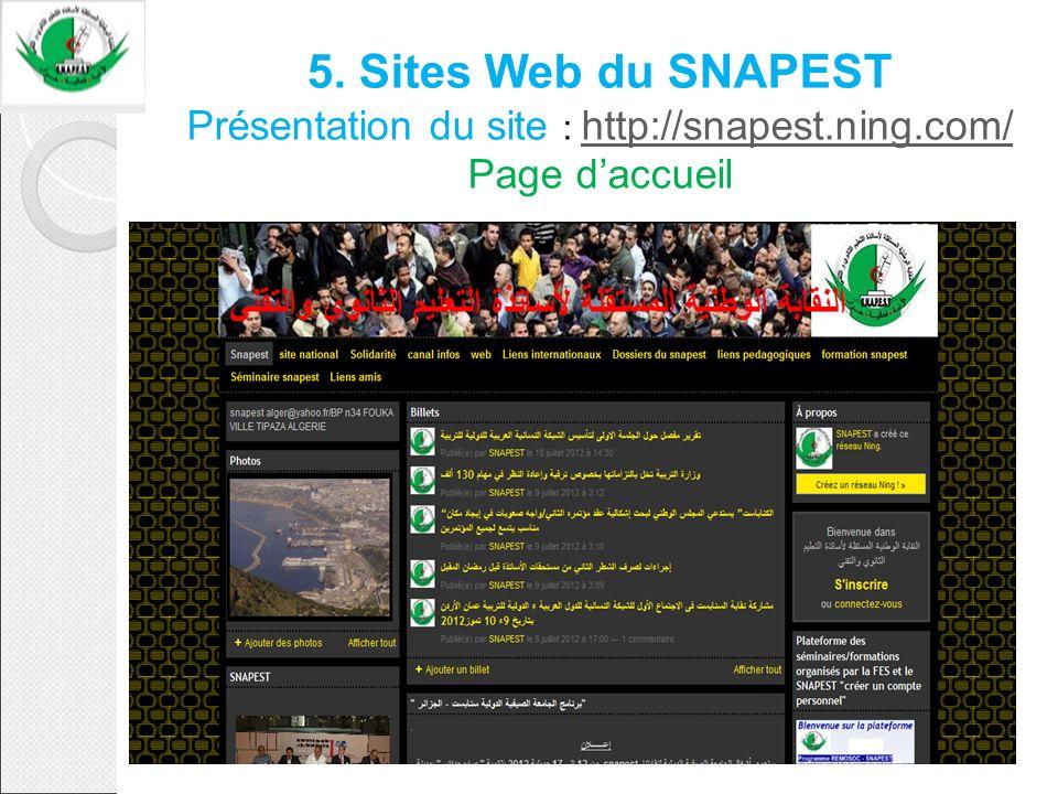 5. Sites Web du SNAPEST Présentation du site : http://snapest.ning.com/ Page daccueil http://snapest.ning.com/