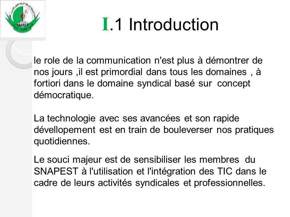 I.1 Introduction le role de la communication n'est plus à démontrer de nos jours,il est primordial dans tous les domaines, à fortiori dans le domaine