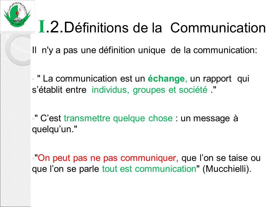 I.2. D éfinitions de la Communication Il n'y a pas une définition unique de la communication: