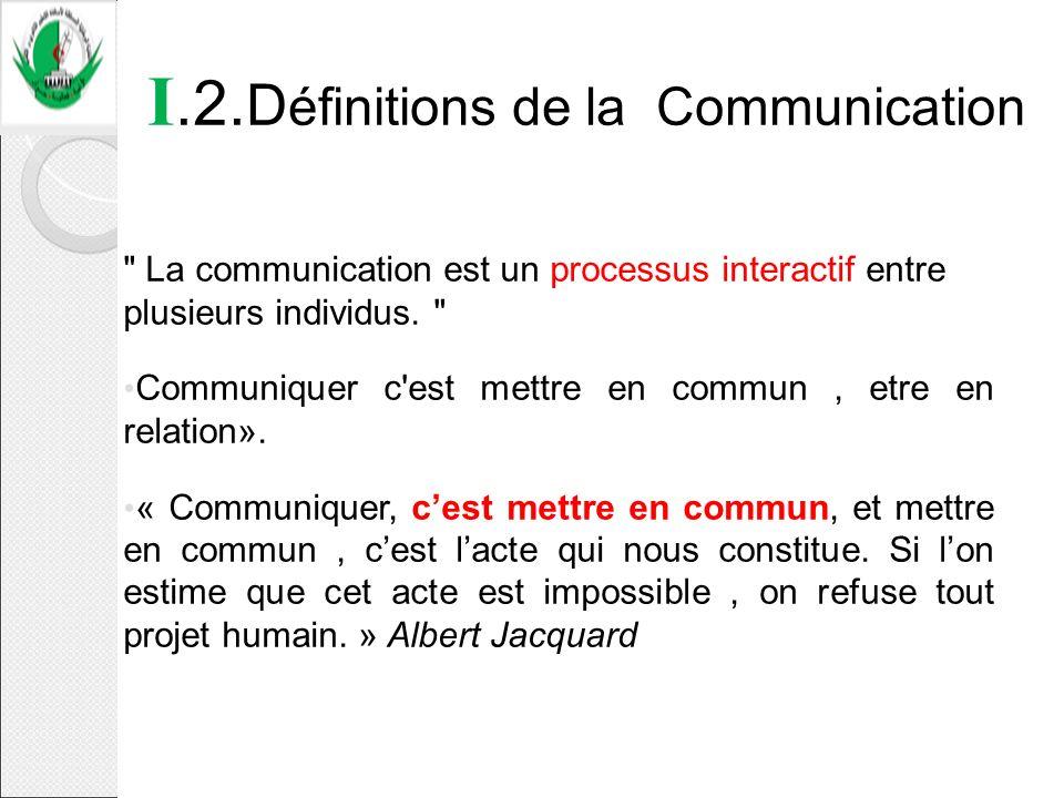 I.2. D éfinitions de la Communication
