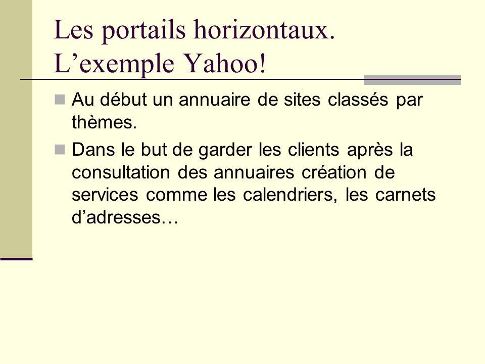 Les portails horizontaux. Lexemple Yahoo! Au début un annuaire de sites classés par thèmes. Dans le but de garder les clients après la consultation de