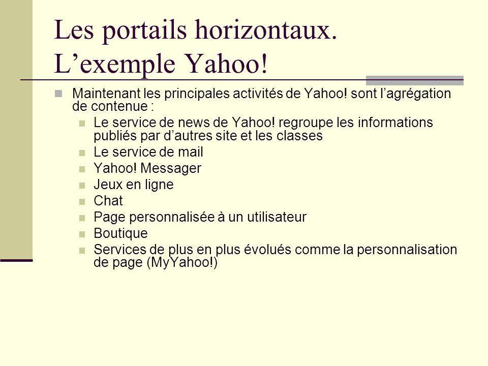 Les portails horizontaux. Lexemple Yahoo! Maintenant les principales activités de Yahoo! sont lagrégation de contenue : Le service de news de Yahoo! r