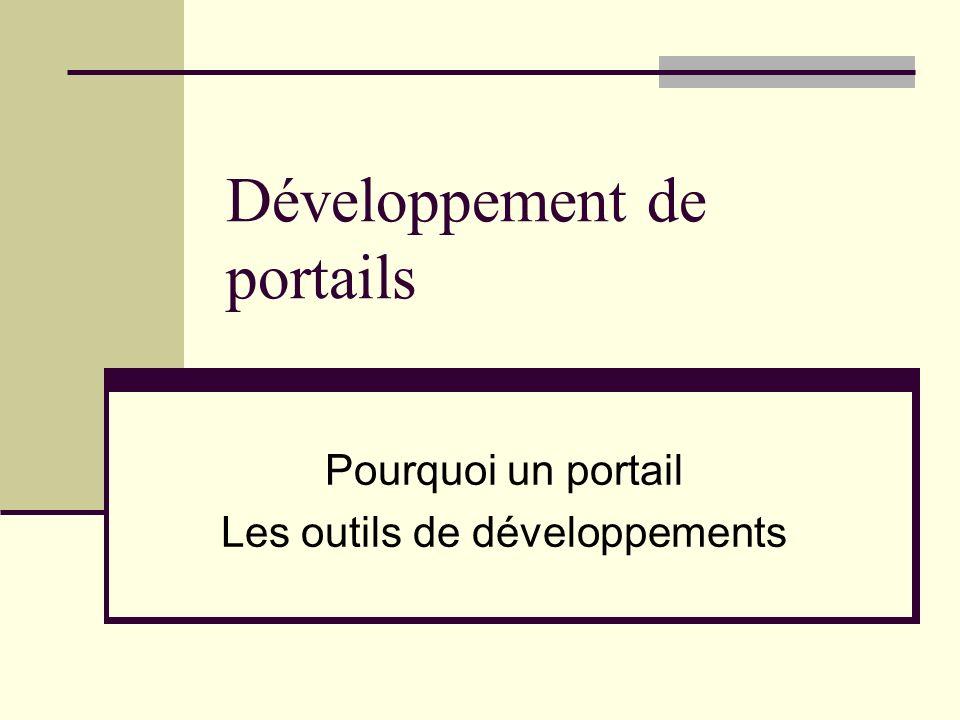 Développement de portails Pourquoi un portail Les outils de développements