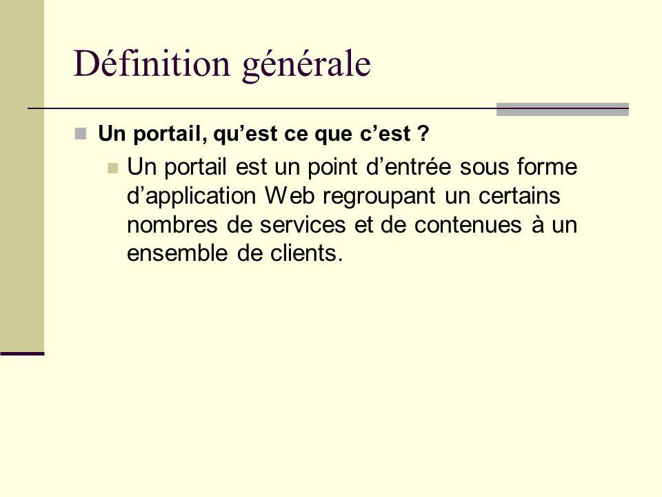 Définition générale Un portail, quest ce que cest ? Un portail est un point dentrée sous forme dapplication Web regroupant un certains nombres de serv