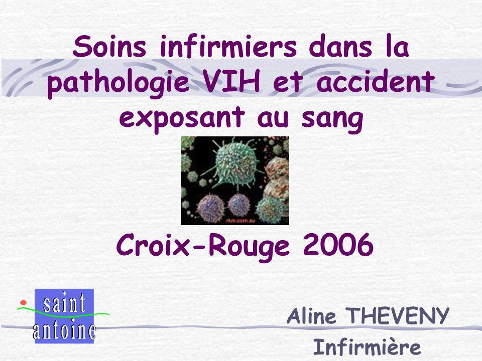 Soins infirmiers dans la pathologie VIH et accident exposant au sang Aline THEVENY Infirmière Croix-Rouge 2006