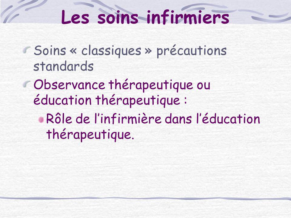 Les soins infirmiers Soins « classiques » précautions standards Observance thérapeutique ou éducation thérapeutique : Rôle de linfirmière dans léducat