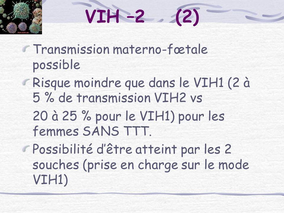 Transmission materno-fœtale possible Risque moindre que dans le VIH1 (2 à 5 % de transmission VIH2 vs 20 à 25 % pour le VIH1) pour les femmes SANS TTT