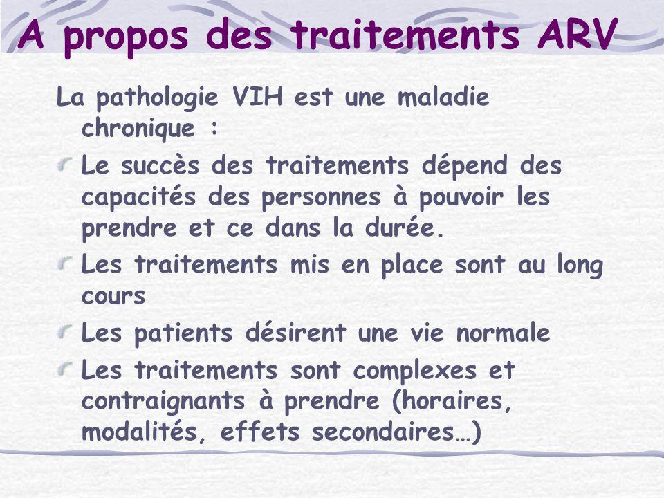 A propos des traitements ARV La pathologie VIH est une maladie chronique : Le succès des traitements dépend des capacités des personnes à pouvoir les