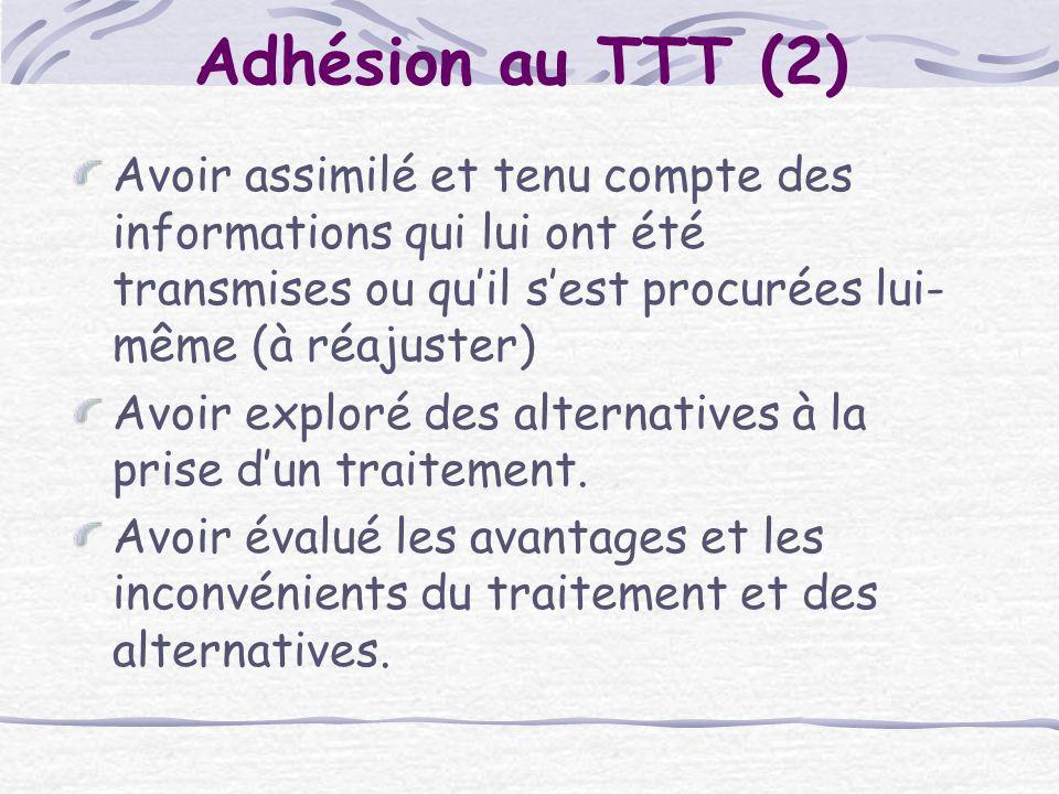 Adhésion au TTT (2) Avoir assimilé et tenu compte des informations qui lui ont été transmises ou quil sest procurées lui- même (à réajuster) Avoir exp