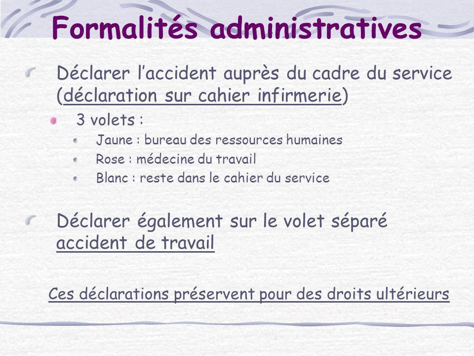 Formalités administratives Déclarer laccident auprès du cadre du service (déclaration sur cahier infirmerie) 3 volets : Jaune : bureau des ressources
