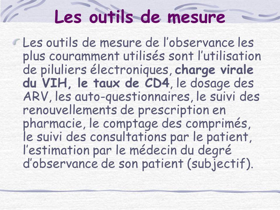 Les outils de mesure Les outils de mesure de lobservance les plus couramment utilisés sont lutilisation de piluliers électroniques, charge virale du V