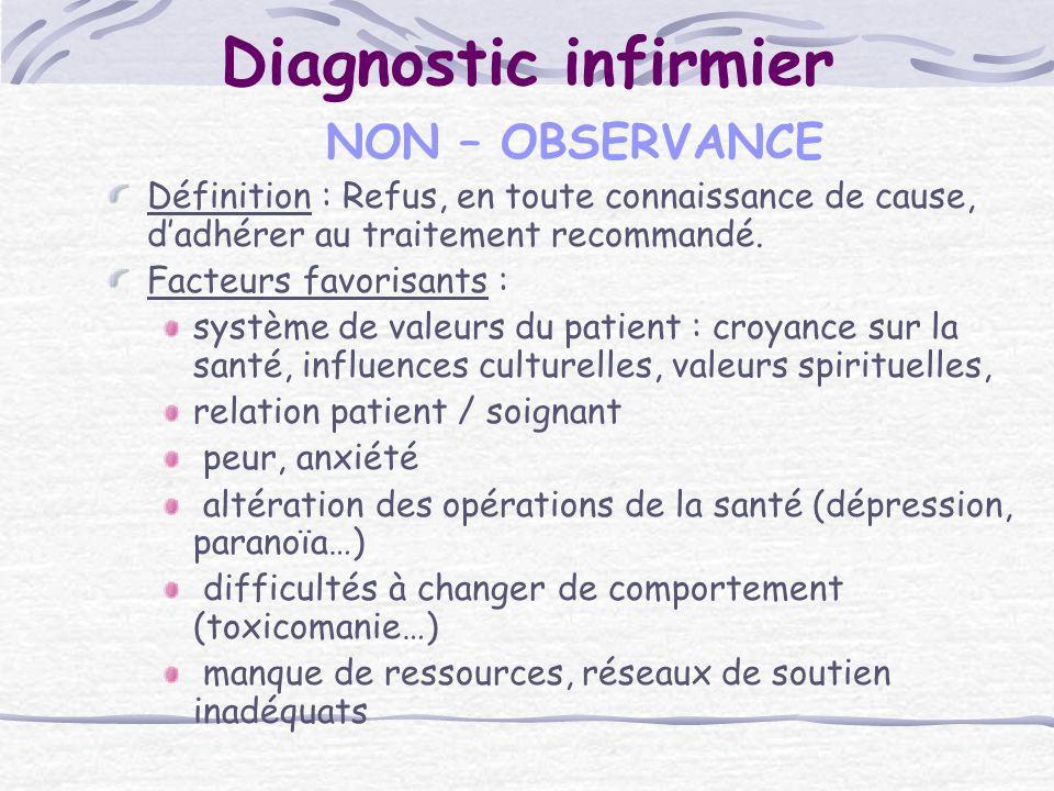 Diagnostic infirmier NON – OBSERVANCE Définition : Refus, en toute connaissance de cause, dadhérer au traitement recommandé. Facteurs favorisants : sy