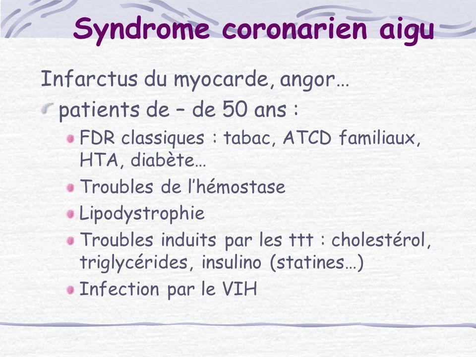 Syndrome coronarien aigu Infarctus du myocarde, angor… patients de – de 50 ans : FDR classiques : tabac, ATCD familiaux, HTA, diabète… Troubles de lhé