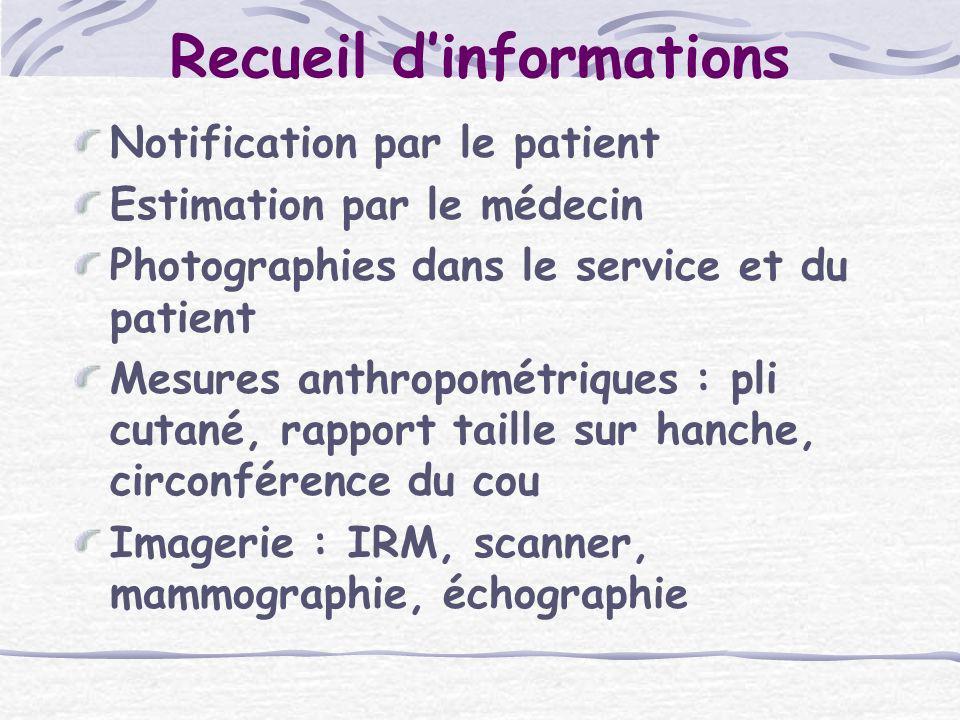 Recueil dinformations Notification par le patient Estimation par le médecin Photographies dans le service et du patient Mesures anthropométriques : pl
