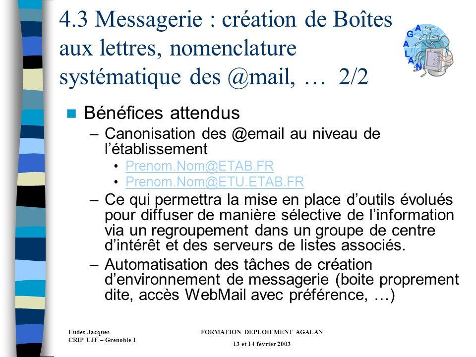 Eudes Jacques CRIP UJF – Grenoble 1 FORMATION DEPLOIEMENT AGALAN 13 et 14 février 2003 4.3 Messagerie : création de Boîtes aux lettres, nomenclature systématique des @mail, … 2/2 Bénéfices attendus –Canonisation des @email au niveau de létablissement Prenom.Nom@ETAB.FR Prenom.Nom@ETU.ETAB.FR –Ce qui permettra la mise en place doutils évolués pour diffuser de manière sélective de linformation via un regroupement dans un groupe de centre dintérêt et des serveurs de listes associés.