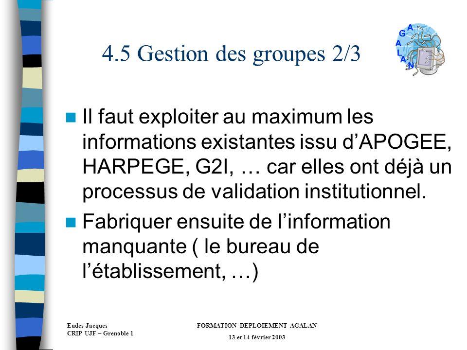 Eudes Jacques CRIP UJF – Grenoble 1 FORMATION DEPLOIEMENT AGALAN 13 et 14 février 2003 4.5 Gestion des groupes 2/3 Il faut exploiter au maximum les informations existantes issu dAPOGEE, HARPEGE, G2I, … car elles ont déjà un processus de validation institutionnel.