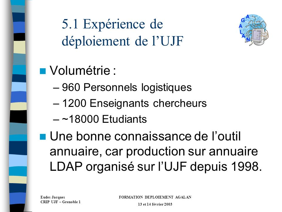 Eudes Jacques CRIP UJF – Grenoble 1 FORMATION DEPLOIEMENT AGALAN 13 et 14 février 2003 5.1 Expérience de déploiement de lUJF Volumétrie : –960 Personnels logistiques –1200 Enseignants chercheurs –~18000 Etudiants Une bonne connaissance de loutil annuaire, car production sur annuaire LDAP organisé sur lUJF depuis 1998.