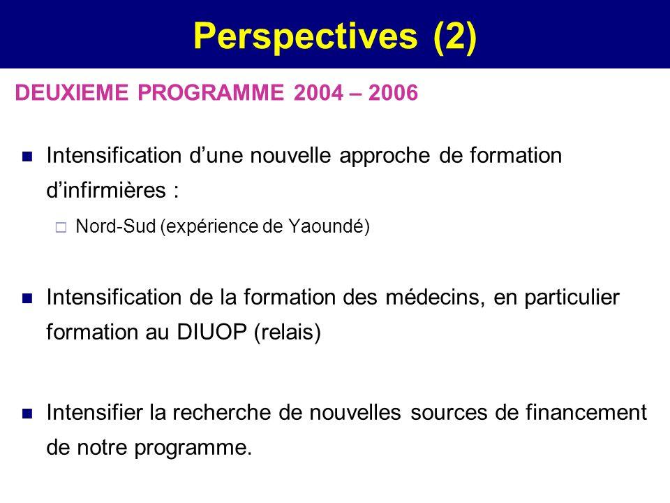 Perspectives (2) Intensification dune nouvelle approche de formation dinfirmières : Nord-Sud (expérience de Yaoundé) Intensification de la formation d