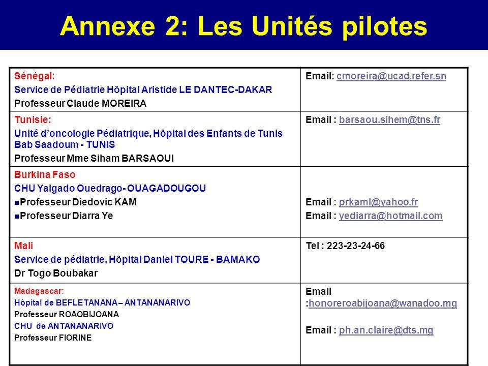 Annexe 2: Les Unités pilotes Sénégal: Service de Pédiatrie Hôpital Aristide LE DANTEC-DAKAR Professeur Claude MOREIRA Email: cmoreira@ucad.refer.sncmo