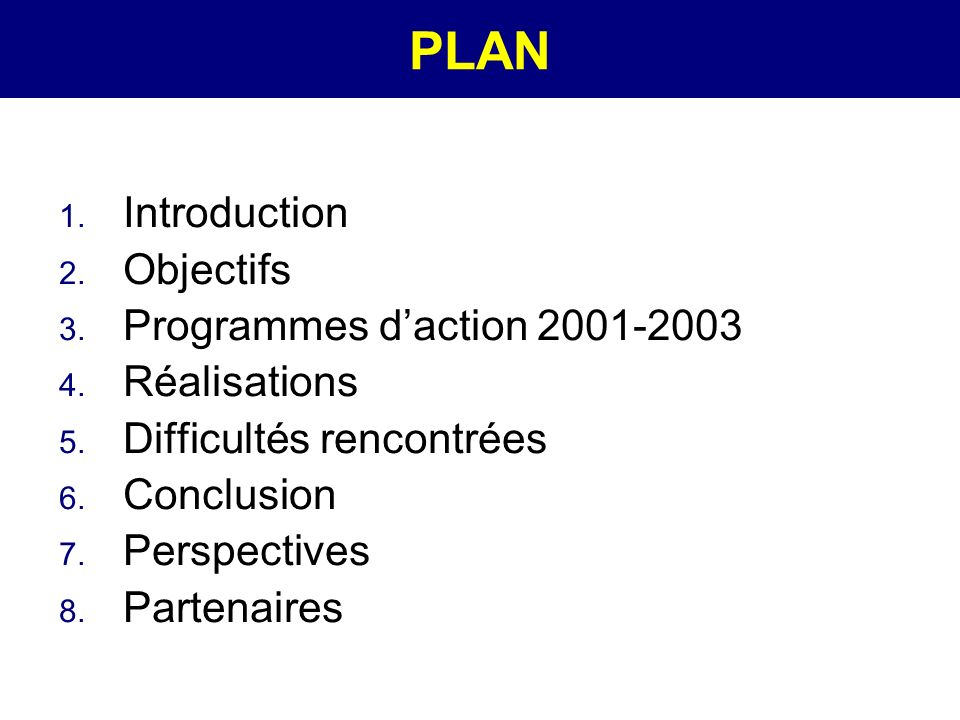 PLAN 1.Introduction 2. Objectifs 3. Programmes daction 2001-2003 4.