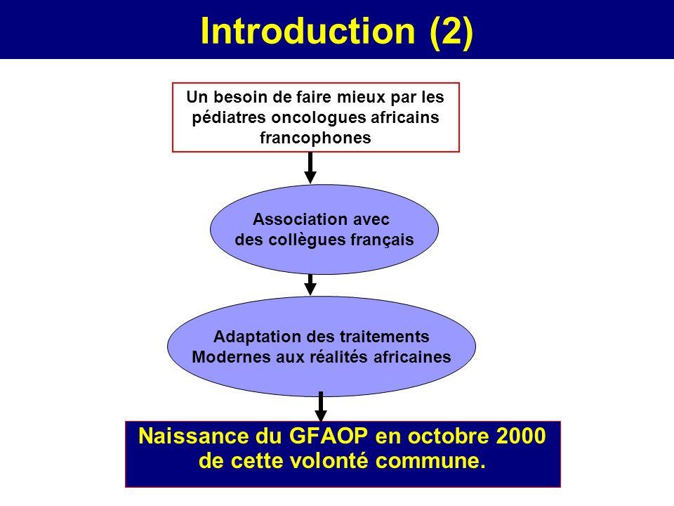 Introduction (2) Naissance du GFAOP en octobre 2000 de cette volonté commune. Un besoin de faire mieux par les pédiatres oncologues africains francoph