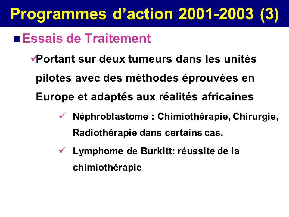 Programmes daction 2001-2003 (3) Essais de Traitement Portant sur deux tumeurs dans les unités pilotes avec des méthodes éprouvées en Europe et adapté