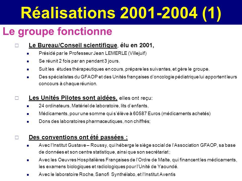 Réalisations 2001-2004 (1) Le groupe fonctionne Le Bureau/Conseil scientifique, élu en 2001, Présidé par le Professeur Jean LEMERLE (Villejuif) Se réu
